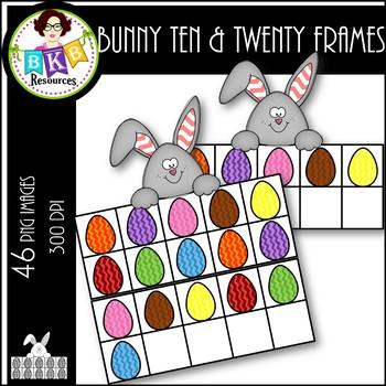 Bunny Ten & Twenty Frames ● Clip Art ● Products for TpT Sellers