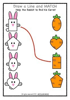 Bunny Theme Shape Sorting Puzzle - NO PREP Math Activity - Rabbit Shape POSTERS