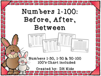 Bunny Themed Math Worksheets - Before, Between, After