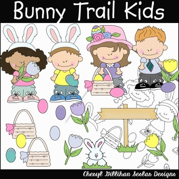 Bunny Trail Kids Clipart Collection