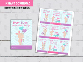Bunny Valentine's Day Card DIY Printable, Non Candy Exchange Tag Ideas