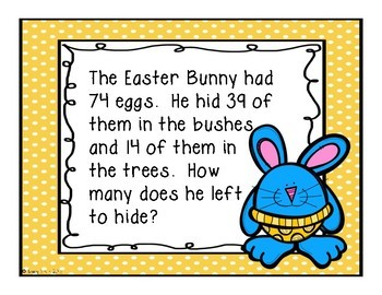 Bunny Word Problems - Grades 2-3 - Great for review before Easter!
