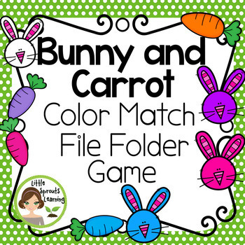 Bunny and Carrot Color Matching File Folder Game {Great for Easter Math Centers)