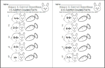 Bunny and Carrot Equations - Addition Doubles Facts