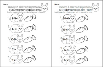 Bunny and Carrot Equations - Subtraction Doubles Facts