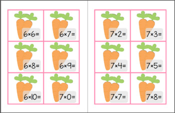 Bunny and Carrot Multiplication Little Math Pack (Math Facts 6-10)
