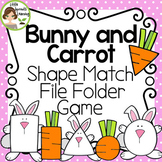 Bunny and Carrot Shape Matching File Folder Game (use for Easter math centers)
