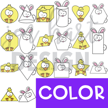 Easter Clip Art - Bunny and Chick Shapes 2D and 3D {jen hart Clip Art)