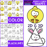 Easter Clip Art - Bunny and Chick Shapes 2D and 3D {jen ha