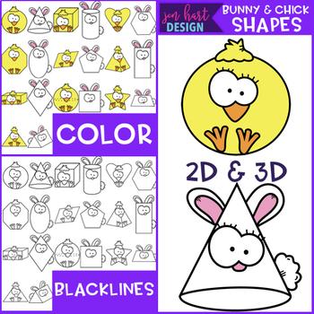 Bunny and Chick 2D & 3D Shapes Clip Art {jen hart Clip Art}
