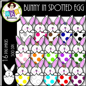 Bunny in Spotted Egg ● Clip Art ● Products for TpT Sellers