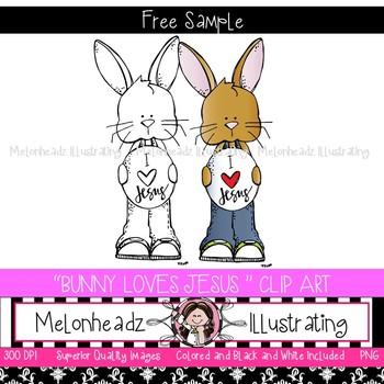 Bunny loves Jesus clip art - FREEBIE - Melonheadz Clipart