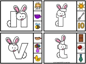 Bunny's Beginnings:  LOW PREP Easter Themed Beginning Sounds Clip Cards