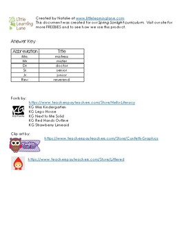 Bunny's Carrot Deliveries - Abbreviation Matching Worksheet