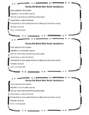 Bunny the Brave Warhorse Vocabulary Handout and Quiz