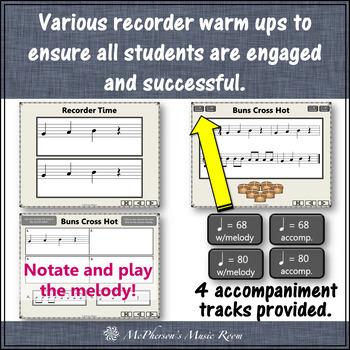 Soprano Recorder Song ~ Buns Cross Hot Interactive Visuals {Notes BAG}