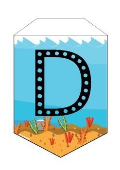 Bunting Alphabet Ocean Decoration