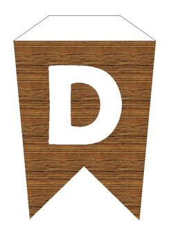 Bunting Alphabet wooden/ forest/ History/ Geography
