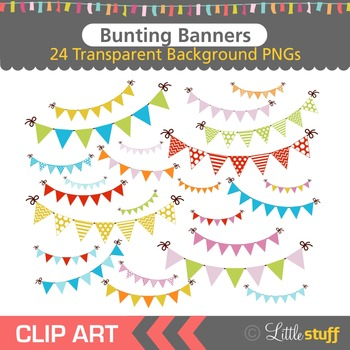 Bunting Banner Clipart, Banner Clip Art, Colorful Banners,