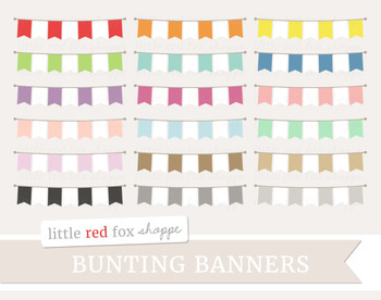 Bunting Banner Clipart; Frame, Label, Pennant, Flag, Garland