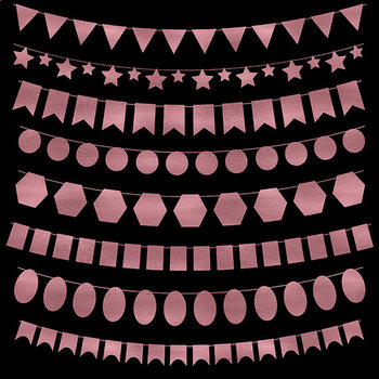 Bunting Banner Clipart, Rose Gold Bunting Clip Art {Pretty Graphics}