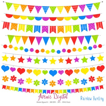 Bunting Banner Clipart Scrapbook Vector Clip art Rainbow, colorful party banners