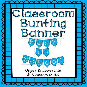 Blue Bunting Banner Letters A-Z and Numbers 0-10