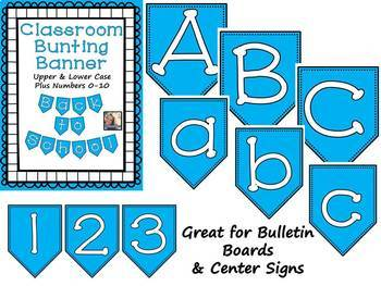 Blue Bunting Banner Letters A to Z and Numbers 0 to 10