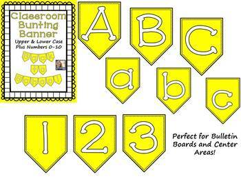 Yellow Bunting Banner Letters A to Z and Numbers 0 to 10