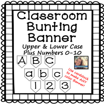 Bunting Banner Letters A-Z and Numbers 0-10 - Black and White Version