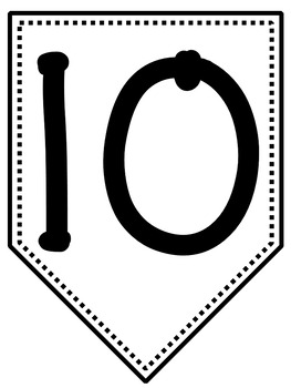 Bunting Banner Letters A to Z and Numbers 0 to 10 Black and White Version