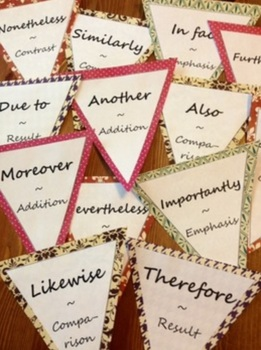 Bunting Banner Linking Words / Transitions Addition Emphasis Result Compare Cont
