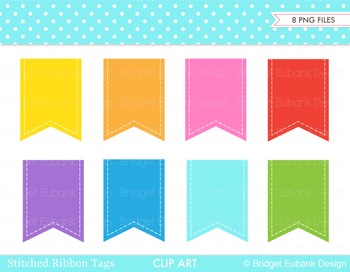 Clip Art Bunting Banner, Stitched Ribbon Tags, Personal &
