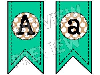 Bunting Banners - Aqua & Tan Polka Dot