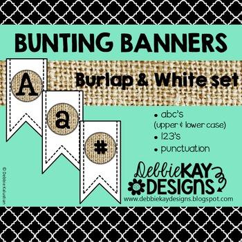 Bunting Banners - Burlap & White