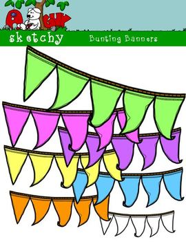 Bunting Banners Hand Drawn 300dpi Bright/Neon Colors