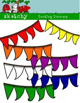 Bunting Banners Hand Drawn 300dpi Primary Colors