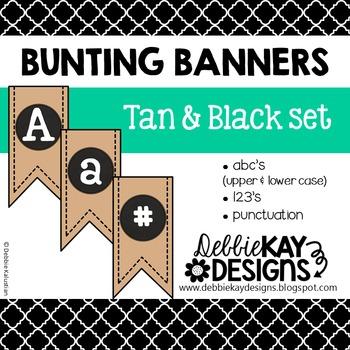 Bunting Banners - Tan & Black