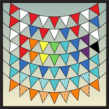 Bunting Borders Mega Pack: Bundle of Designs in Bold Colors (Commercial Use)