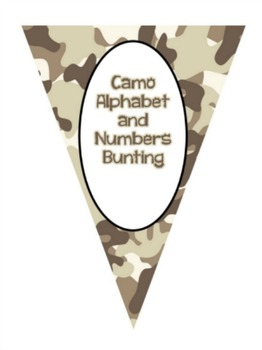 Bunting ~ Brown camo alphabet, numbers, punctuation, and symbols