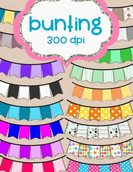 Bunting, Bunting, Bunting - 17 total - clip art *Freebie* Commercial Use OK