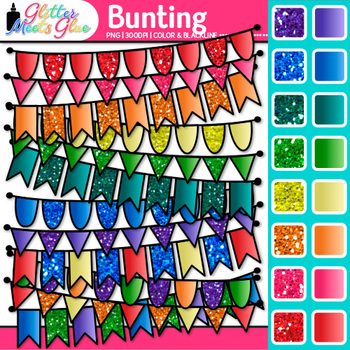 Bunting Clip Art {Rainbow Glitter Flags & Banners for Worksheets & Wall Posters}
