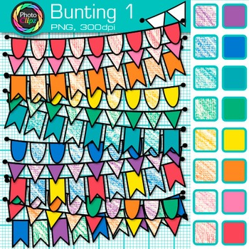 Bunting Clip Art {Rainbow Crayon Flags & Banners for Works