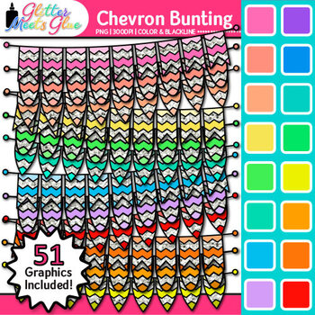 Chevron Bunting Clip Art {Rainbow Glitter Banners for Worksheets & Posters}