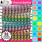Chevron Bunting Clip Art {Rainbow Glitter Banners for Work