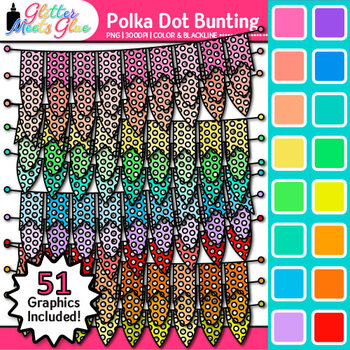 Polka Dot Bunting Clip Art {Rainbow Glitter Banners for Wo