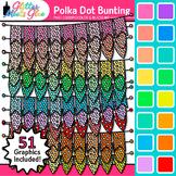 Polka Dot Bunting Clip Art {Rainbow Glitter Banners for Wo