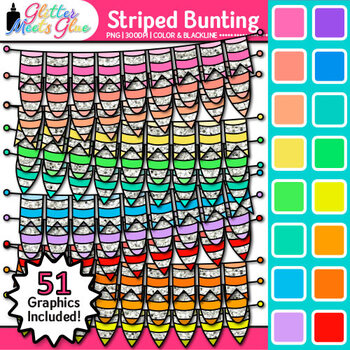 Striped Bunting Clip Art {Rainbow Glitter Banners for Worksheets & Posters}
