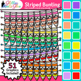 Striped Bunting Clip Art {Rainbow Glitter Banners for Work