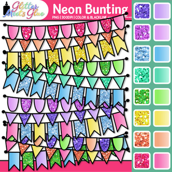 Neon Bunting Clip Art 2 {Rainbow Glitter Banners for Worksheets & Wall Posters}